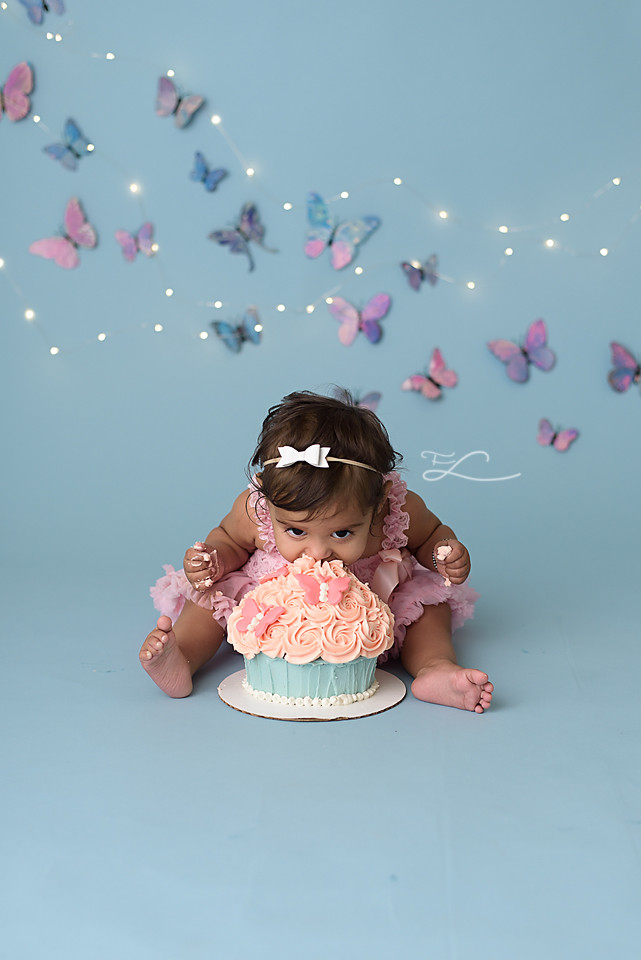 Victoria BC Cake Smash Photo Session, Butterfly and Twinkle Lights Cake Smash, Sidney BC Photographer, Baby face first in the cake