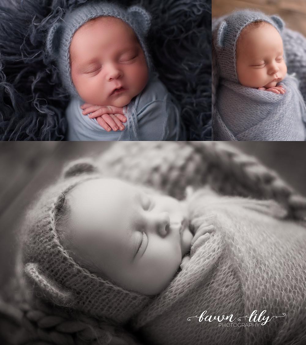 Victoria BC Newborn Photographer, Baby boy on blue, bear hat