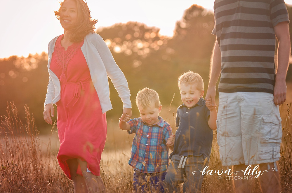 Walking in a field, Family of four, Family Photos, Victoria BC Family Photographer