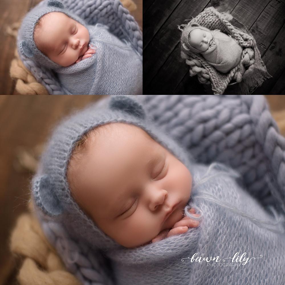 Posed newborn boy pictures, Victoria BC Newborn Photographer, Sidney BC Newborn Photographer, Baby Boy in blue, Bear Hat