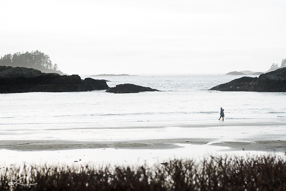 Women walking alone on the beach, Grandmother, Fawn Lily Photography, Sidney BC Family Photographer, Tofino BC