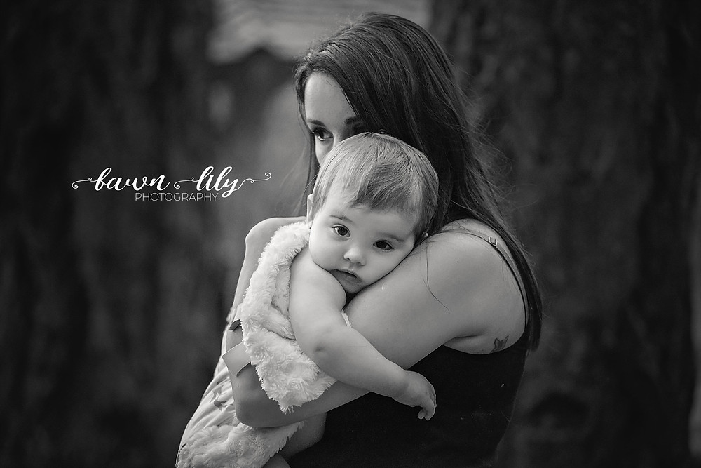 Baby and Mother Snuggle, Black and white, Fawn Lily Photography