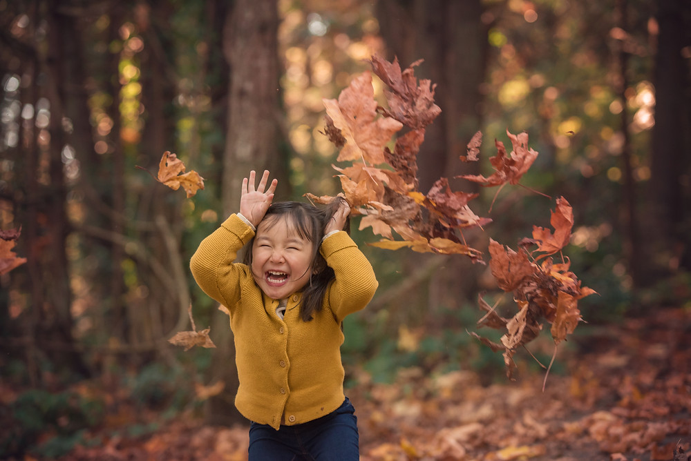 Fall Family Photos, Jumping in the leaves photos, Sidney BC Photos