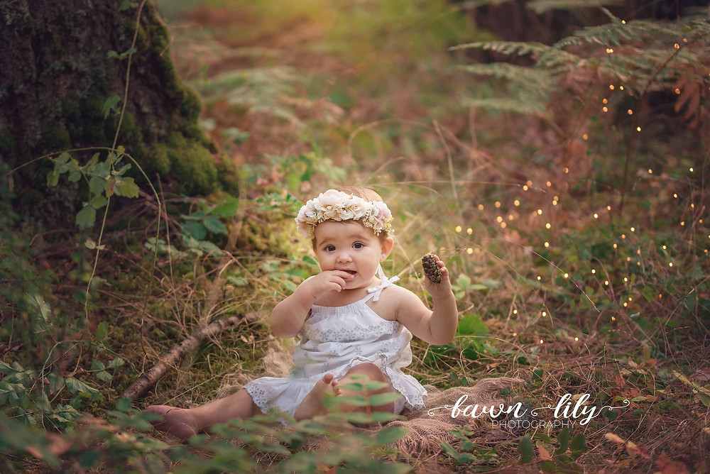 Cake Smash, Outdoor Cake Smash, First Birthday in the forest, Victoria BC Baby Photographer