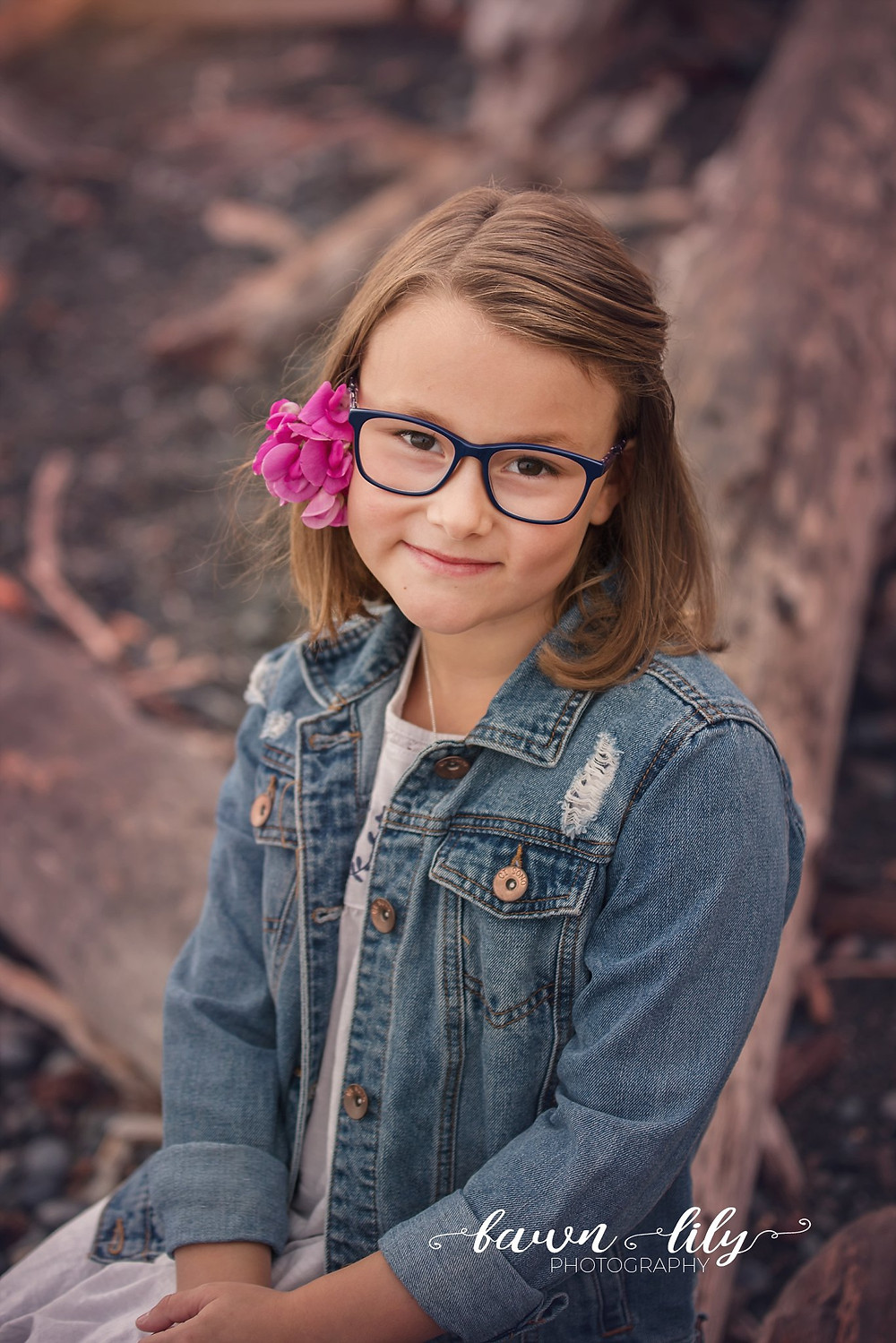 Portrait of a girl on the beach, flower behind her ear, Fawn Lily Photography, Victoria BC Family Photographer