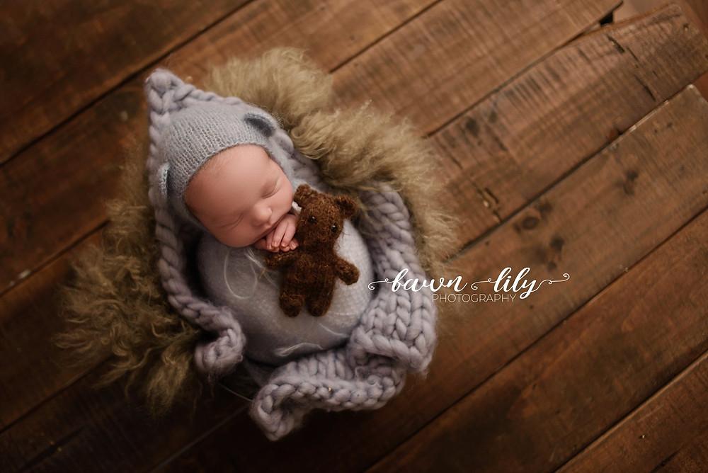 Baby in blue and brown, Newborn Boy, Victoria BC Newborn Photographer