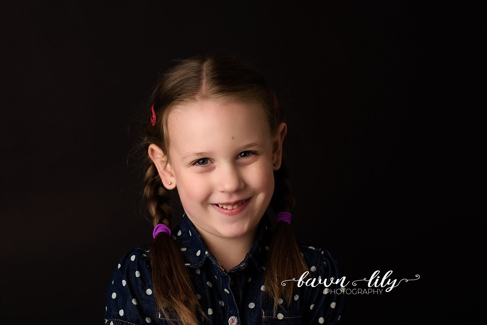 Girl on Black backdrop, Kindergarten pictures, School Photos revisited, Fawn Lily Photography