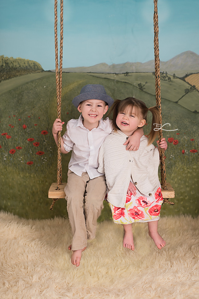Swing into Spring Mini Sessions, boy and girl on a swing, field of poppies, Children's Fair, Fawn Lily Photography, Victoria BC Photographer