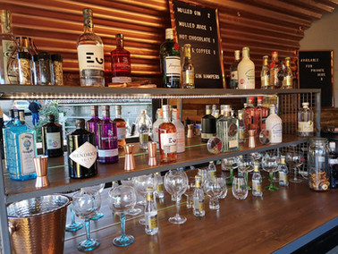 Inside of our mobile gin bar