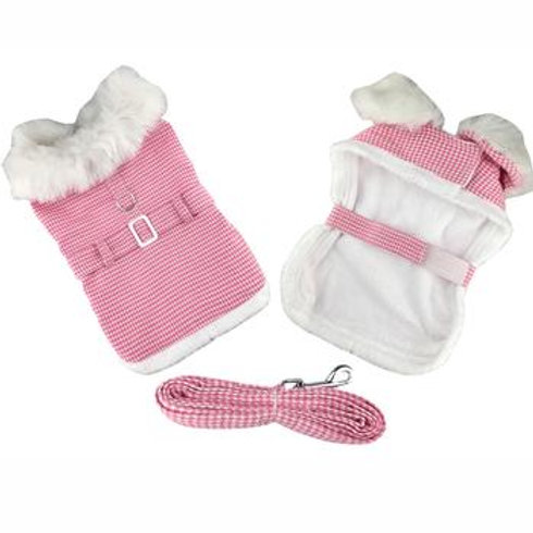 Pink Houndstooth & White Fur Dog Collar Harness Coat