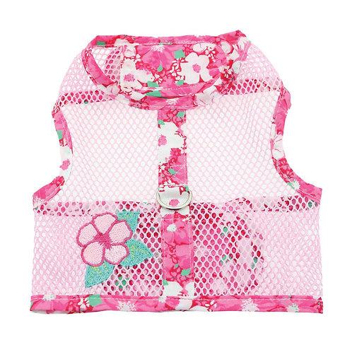 Hawaiian Hibiscus Cool Mesh Dog Harness + Leash-Pink