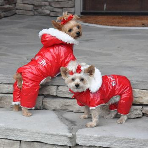 Red Ruffin It Dog Snowsuit Harness
