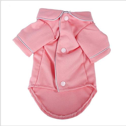Dog Pajama Shirt with Piping Detail-Pink