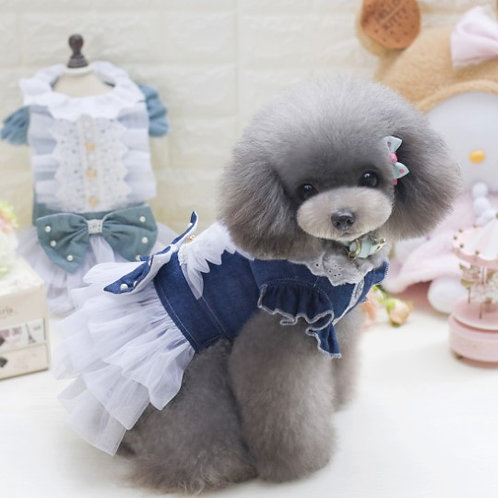 Chiffon Ruffle Dog Dress-Denim Color