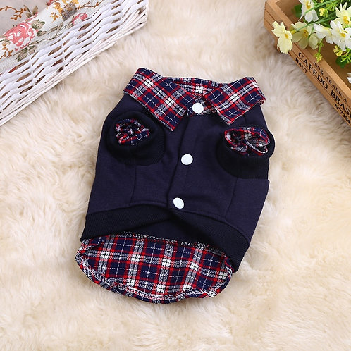 Plaid Layered Style Dog Sweatshirt Jacket -Navy Blue