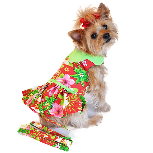Hawaiian Red Hibiscus Dog Dress with Matching Leash
