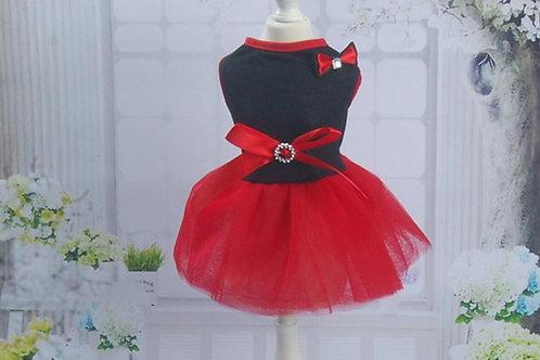 Red Chiffon Dog Party Dress