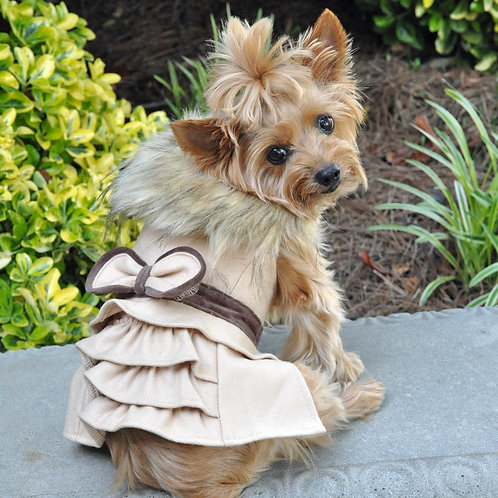 Wool Fur-Trimmed Dog Harness Coat by Doggie Design