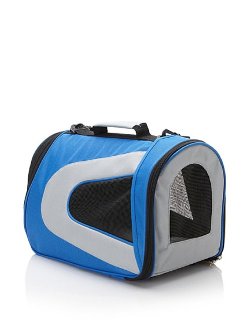 Blue & Grey Collapsible Zippered Fashion Pet Carrier