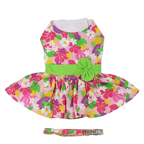 Pink Hawaiian Floral Dog Harness Dress with Matching Leash
