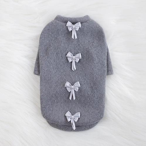 Dainty Bow Sweater - Grey