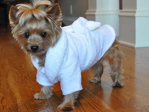 White Gold CROWN Dog Bathrobe 100% Combed Cotton Terrycloth