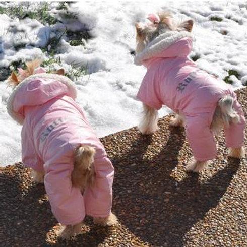 Pink Ruffin It Dog Snowsuit Harness