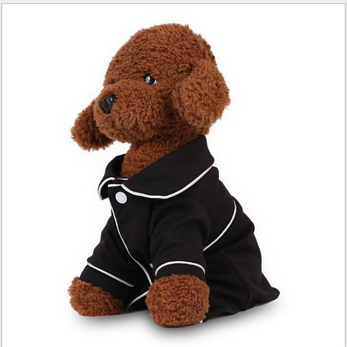 Dog Pajama Shirt with Piping Detail-Black