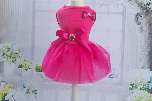 Bright Pink Chiffon Dog Party Dress