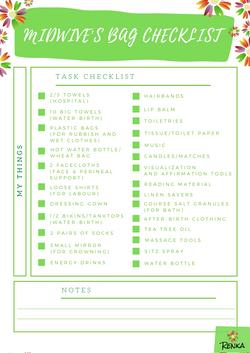 Renka's Midwive's Bag Checklist