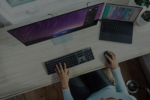 moody laptop computer on desk