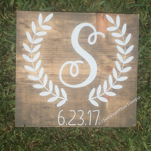 Wooden monogram sign