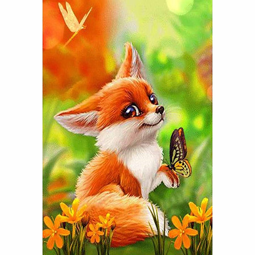 Fox With Butterfly