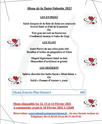 Menu St Valentin l'Alezan