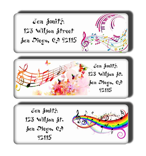Musical Notes - Black or Colorful - Labels