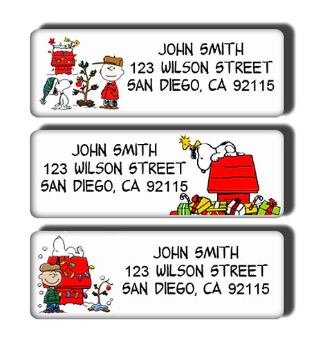 Snoopy Christmas Labels