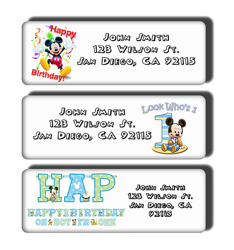 Mickey Mouse 1st Birthday Labels