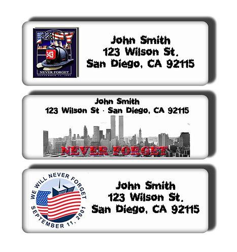 Patriotic Never Forget 9/11 Memorial Labels