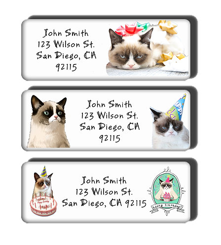 Birthday Grumpy Cat Labels