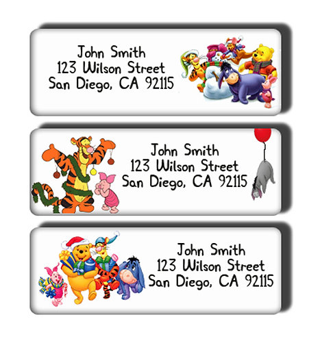 Winnie the Pooh Christmas Labels