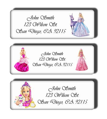 Barbie Princess Labels