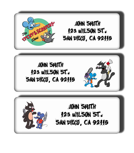 Itchy and Scratchy Show Labels