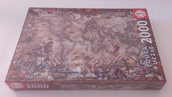 Puzzle 2000 pçs Mapa de Piratas