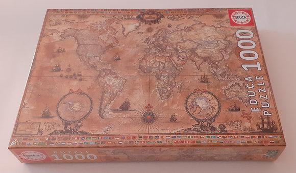Puzzle 1000 pçs Mapa Mundi