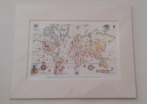 Mapa dos Descobrimentos com passpartout 20x25 cm