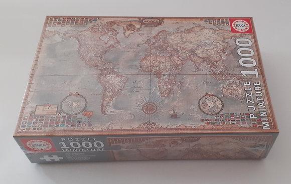 Puzzle miniatura 1000 pçs O Mundo, Mapa Político