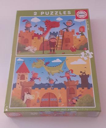 Puzzle 2x48 pçs Dragões e Cavaleiros