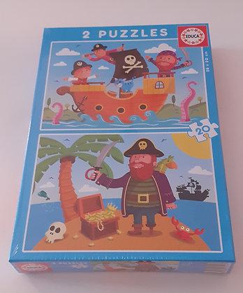 Puzzle 2x20 pçs Piratas