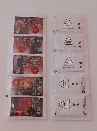 Colecção de 5 pacotes de açucar Museu de Cera dos Descobrimentos
