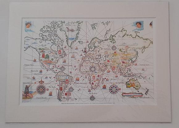 Mapa dos Descobrimentos com passpartout 30x40 cm